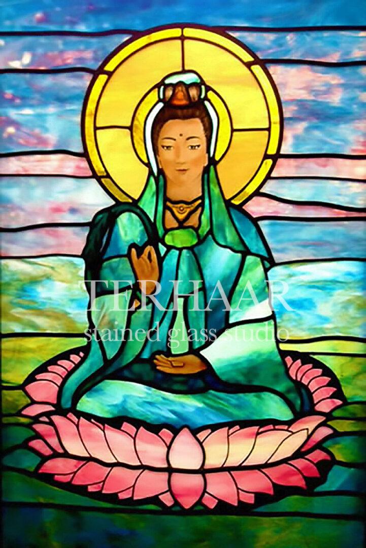 stained-glass-art_goddess-lakshmi-on-lotus-flower_mausoleum_stained-glass-window_house-of-worship_terhaarglass.com
