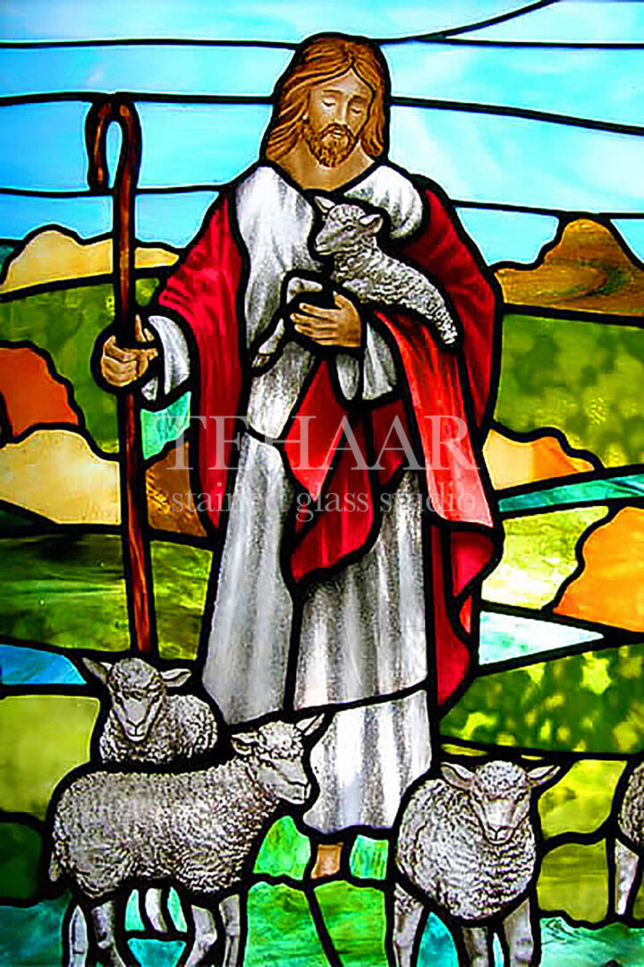 stained-glass-art_jesus-the-shepard-with-sheep_stained-glass-window_house-of-worship_terhaarglass.com