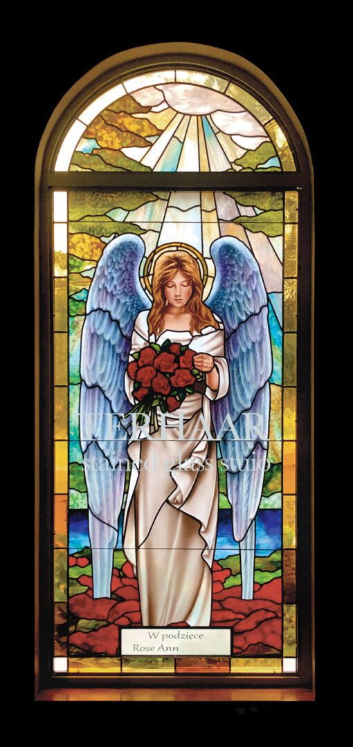stained-glass-art_angel-with-roses_stained-glass-window_house-of-worship_terhaarglass.com