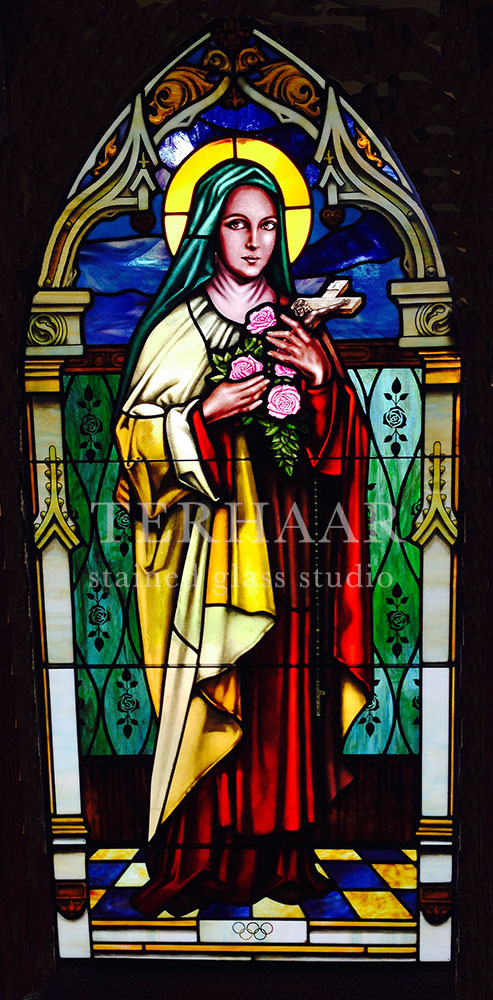 stained-glass-art_mary-with-roses-and-cross_stained-glass-window_house-of-worship_terhaarglass.com