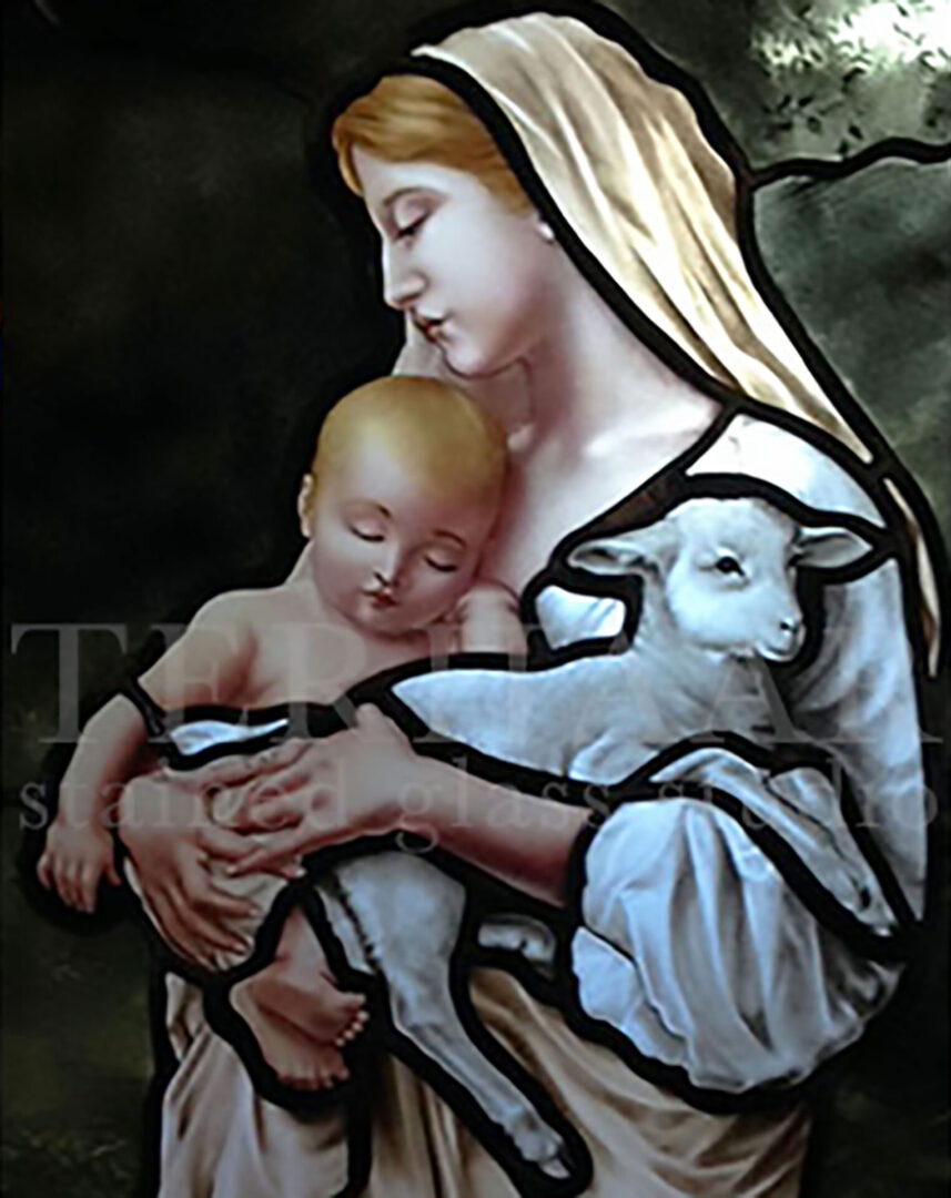 stained-glass-art_madonna-child-and-lamb_stained-glass-window_house-of-worship_terhaarglass.com