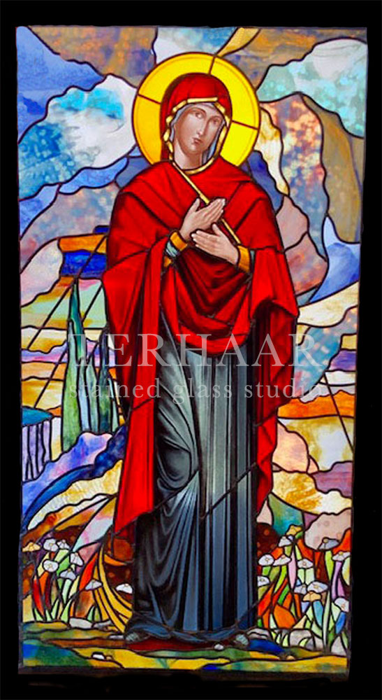 stained-glass-art_tiffany-glass_mary-magdalene-in-red-robe_stained-glass-window_house-of-worship_terhaarglass.com