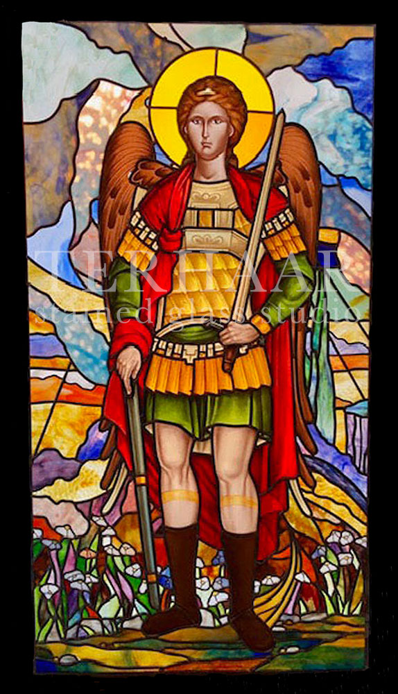 stained-glass-art_tiffany-glass_arch-angel-michael_stained-glass-window_house-of-worship_terhaarglass.com