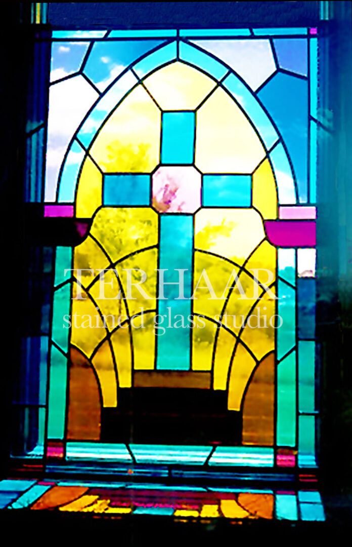 stained-glass-art_stepped-cross_stained-glass-window_house-of-worship_terhaarglass.com