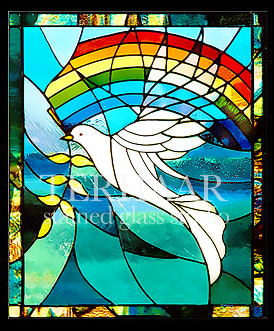 stained-glass-art_gods-dove-of-promise_stained-glass-window_house-of-worship_terhaarglass.com