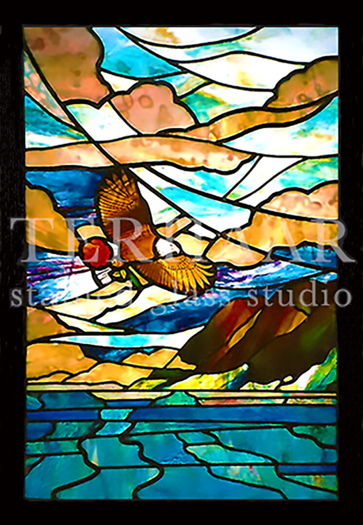 stained-glass-art_eagle-with-rose_stained-glass-window_commercial_terhaarglass.com