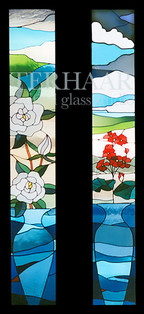 stained-glass-art_spring-flowers-in-vases_two-stained-glass-windows_commercial_terhaarglass.com