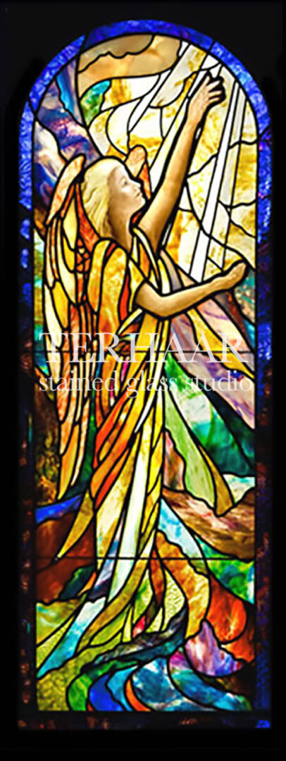 stained-glass-art_angel-reaching-towards-heaven_stained-glass-window_house-of-worship_terhaarglass.com