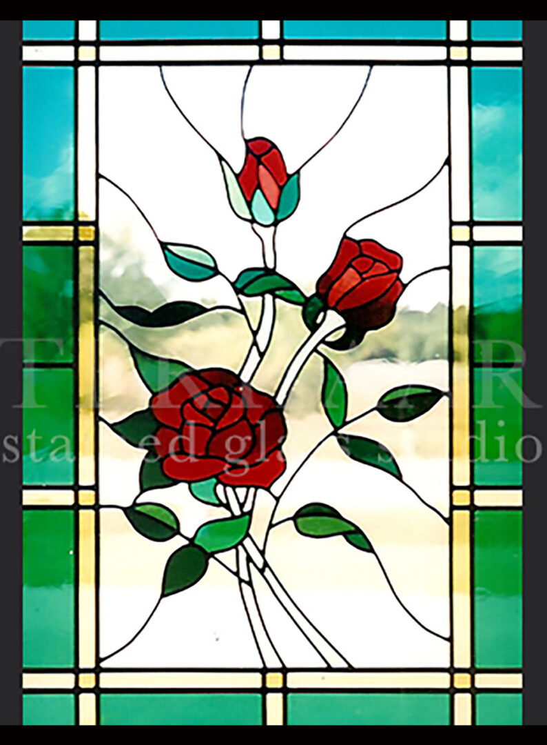 stained-glass-art_three-red-roses_stained-glass-window_residential_terhaarglass.com