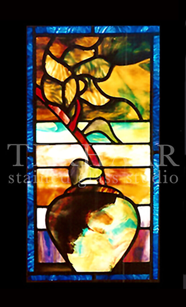 staned-glass-art_fig-tree-in-vase_stained-glass-window_house-of-worship_terhaarglass.com